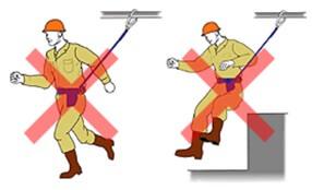 ロック機能付きストラップ巻取り式安全帯で走ると危険