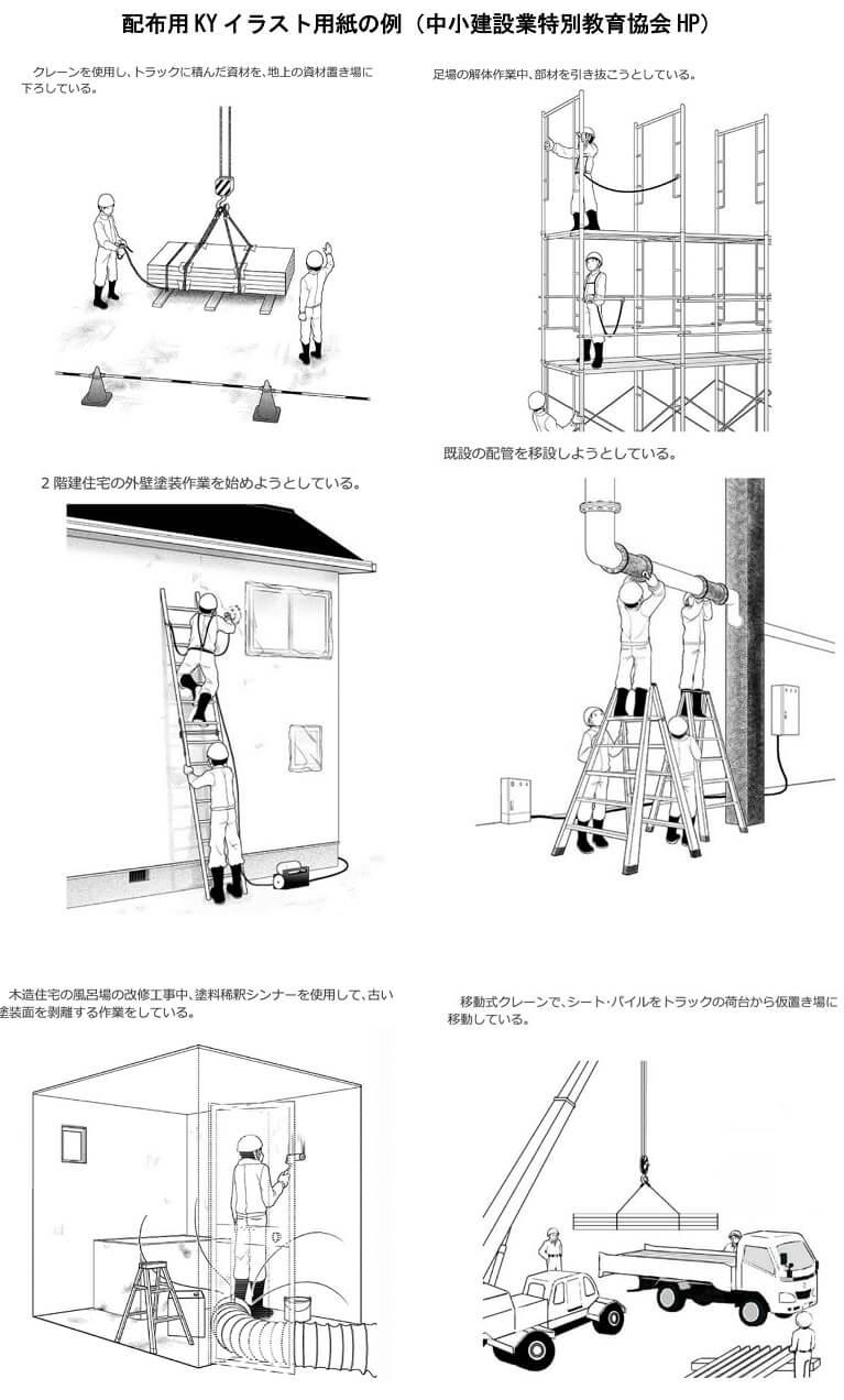 配布用KYイラスト用紙の例(中小建設業特別教育協会HP)